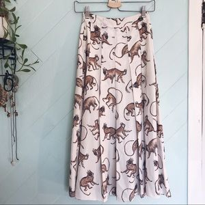 H&M King Monkey Patterned Ankle-Length Skirt